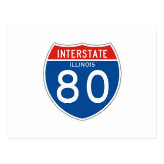 Interstate Sign 80 - Illinois Postcard