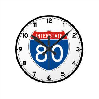 Interstate Sign 80 - Ohio Round Clock