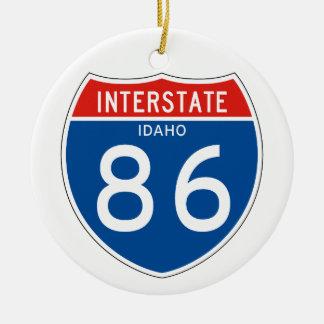 Interstate Sign 86 - Idaho Round Ceramic Decoration