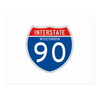 Interstate Sign 90 - Wisconsin Postcard