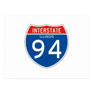 Interstate Sign 94 - Illinois Postcard
