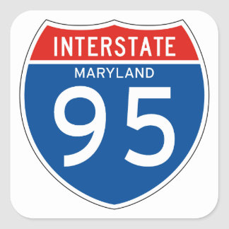 Interstate Sign 95 - Maryland Square Sticker