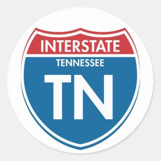 Interstate Tennessee TN Round Sticker