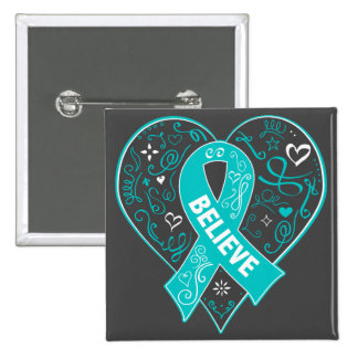 Interstitial Cystitis Believe Ribbon Heart 15 Cm Square Badge