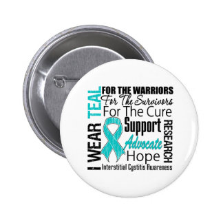 Interstitial Cystitis I Wear Teal Ribbon Tribute 6 Cm Round Badge