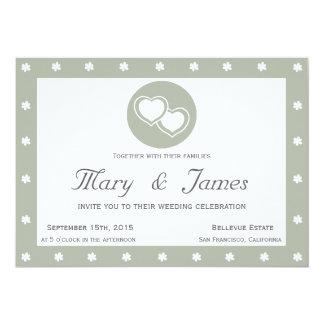 INTERTWINED HEARTS horizontal grey frame, flowers. 13 Cm X 18 Cm Invitation Card