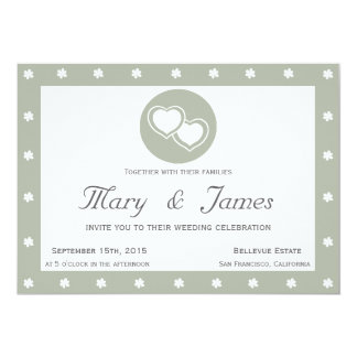 INTERTWINED HEARTS horizontal grey frame, flowers. 13 Cm X 18 Cm Invitation Card