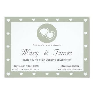 INTERTWINED HEARTS ( horizontal grey hearts frame) 13 Cm X 18 Cm Invitation Card