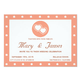 INTERTWINED HEARTS horizontal pink frame, flowers. 13 Cm X 18 Cm Invitation Card