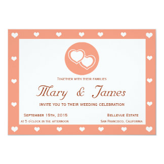 INTERTWINED HEARTS (horizontal pink hearts frame) 13 Cm X 18 Cm Invitation Card