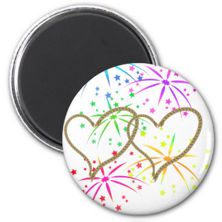 Intertwined hearts tangled rope romantic fireworks 2 inch round magnet