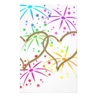 Intertwined hearts tangled rope romantic fireworks stationery paper