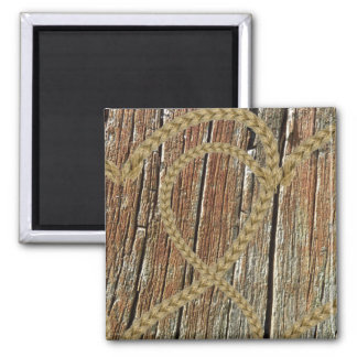 Intertwined hearts tangled rope romantic wooden 2 inch square magnet
