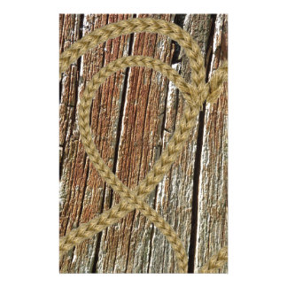 Intertwined hearts tangled rope romantic wooden personalized stationery