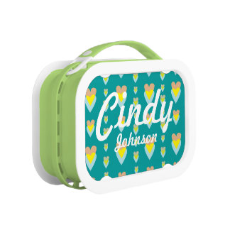 Intertwined Hearts Teal Lunchbox