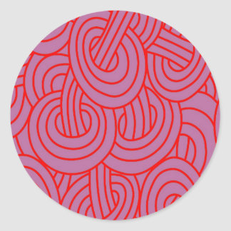 Intertwined red C Round Stickers