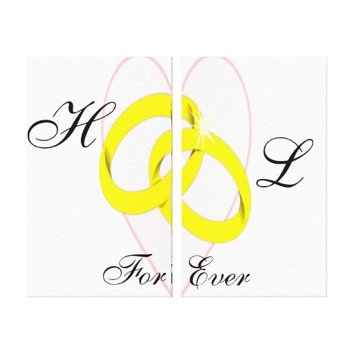Intertwined Wedding Rings & Heart Gallery Wrapped Canvas