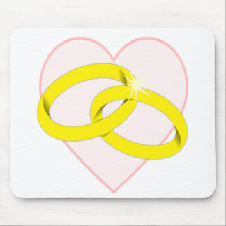 Intertwined Wedding Rings & Heart Mouse Pad