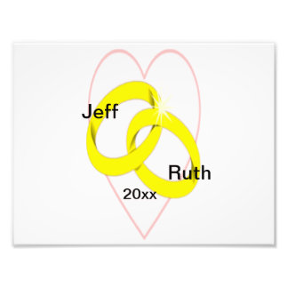 Intertwined Wedding Rings Heart Photo Print
