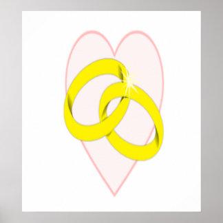Intertwined Wedding Rings & Heart Print