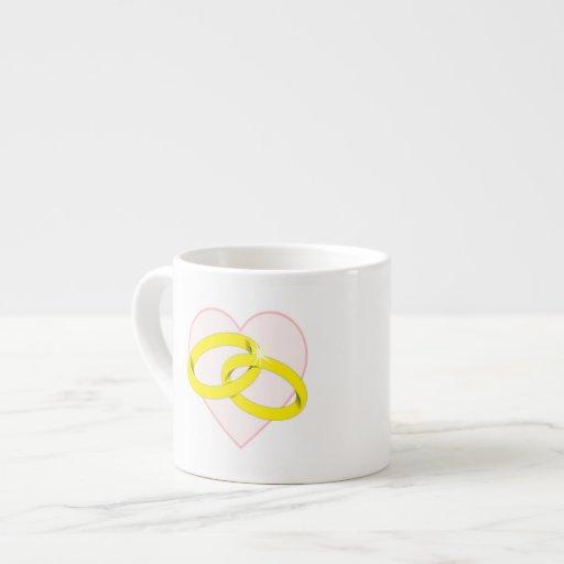 Intertwined Wedding Rings & Heart Espresso Mug