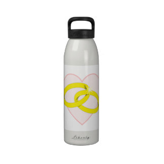 Intertwined Wedding Rings Heart Reusable Water Bottle