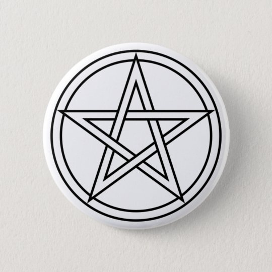 Intertwined White Pentacle 6 Cm Round Badge