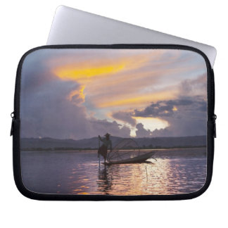 Intha fisherman leg rowing boat fishing with net laptop computer sleeve