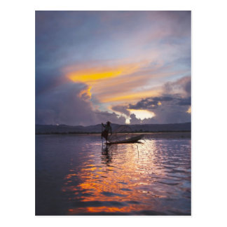 Intha fisherman leg rowing boat fishing with net postcard