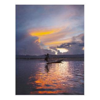 Intha fisherman leg rowing boat fishing with net postcards