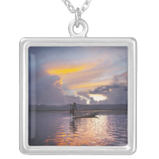 Intha fisherman leg rowing boat fishing with net silver plated necklace