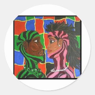 Intimate Couple Round Sticker