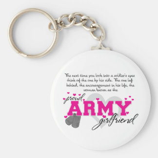 Into a Soldier's eyes - Proud Army Girlfriend Basic Round Button Key Ring