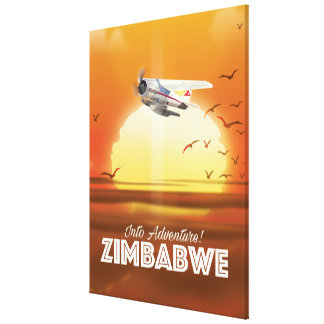 Into Adventure! Zimbabwe travel poster Canvas Print