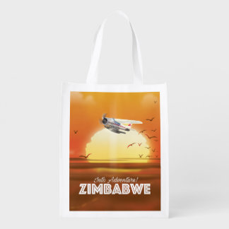 Into Adventure! Zimbabwe travel poster Reusable Grocery Bag
