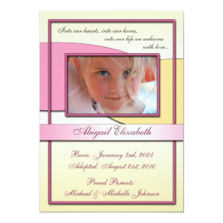 "Into Our Hearts ~ Adoption Announcements 5"" X 7"" Invitation Card"