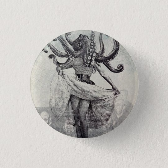 Into the darkness, into the sea. 3 cm round badge