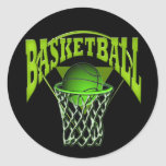 Into The Hoop Basketball and Backboard Round Stickers
