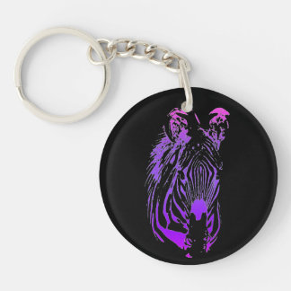 Into the Jungle (Zebra) Single-Sided Round Acrylic Key Ring