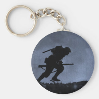 Into the Night a Soldier on the Battlefield Keychains