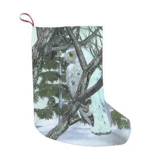 Into The Wild Snowy Owl SCENE HOLIDAY DECOR Small Christmas Stocking