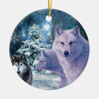 Into The Wild Wolf Art Christmas Ornament