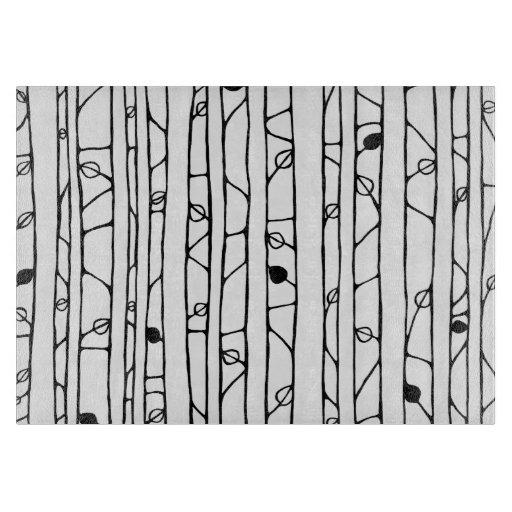Into the Woods black Glass Cutting Board medium