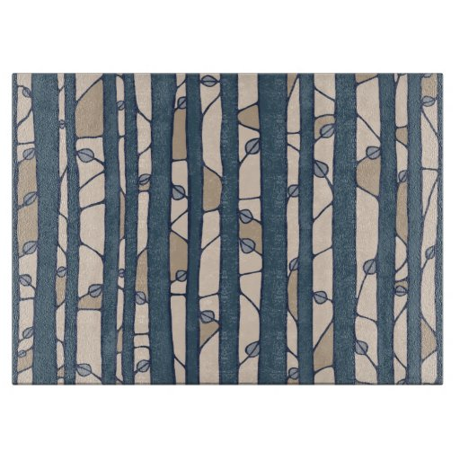 Into the Woods blue Glass Cutting Board large