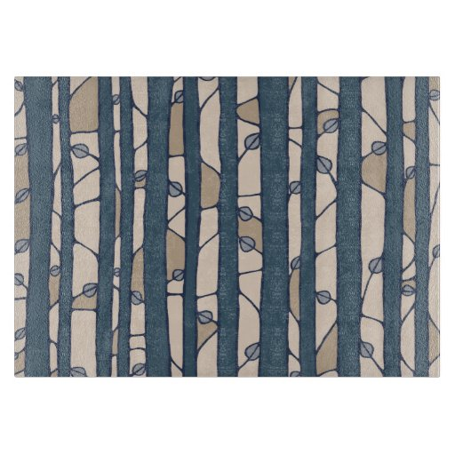 Into the Woods blue Glass Cutting Board medium