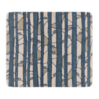 Into the Woods blue Glass Cutting Board small