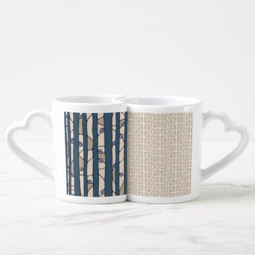 Into the Woods blue Leaves cream Lovers Mug Set Lovers Mug Set