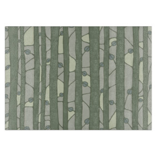 Into the Woods green Glass Cutting Board medium