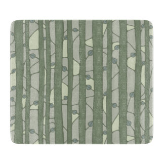 Into the Woods green Glass Cutting Board small