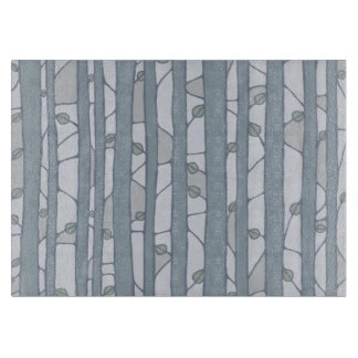 Into the Woods grey Glass Cutting Board medium